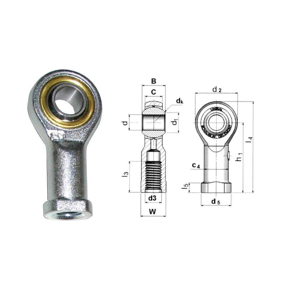 Rotule Unibal SMG standard d.12mm male pas M12x175 à gauche