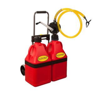 Chariot Refuelling 56L (2 bidons 28l rouge+1trolley+1 pompe manuelle)