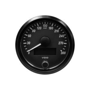 Compteur-Vitesse 300 km/h - VDO Singleviu - fond noir - diamètre 80mm