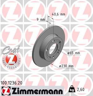Disque de Frein Zimmermann Gr.N Audi TT 1.8T 232X9 Arr (pièce)