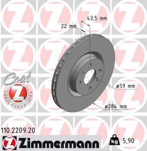 Disque de Frein Zimmermann Gr.N Fiat Coupé 2.0L16vTurbo (pièce)