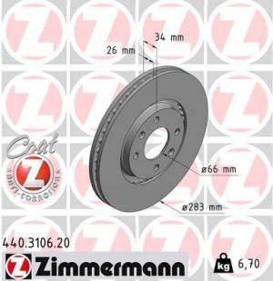 Disque de Frein Zimmermann Gr.N Peugeot 206 RC 283x26 Av (pièce)