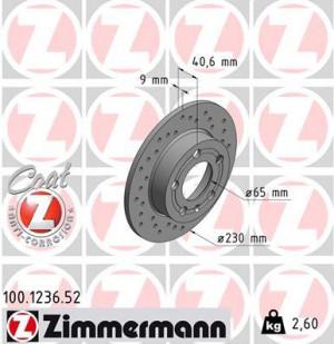 Disque de Frein Zimmermann Percé Audi TT 1.8T 232x9 Arr (pièce)