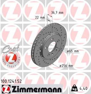 Disque de Frein Zimmermann Percé Audi TT Quattro 256x22mm ar (pièce)