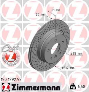 Disque de Frein Zimmermann Percé BMW M3 E36 Arg 312x20 (pièce)