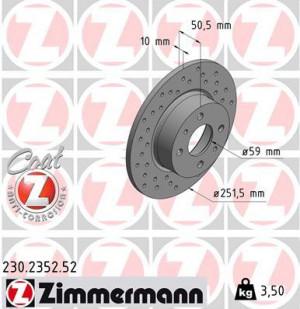 Disque de Frein Zimmermann Percé Fiat Stilo 1.9 JTD Ar 251x10 (pièce)