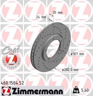Disque de Frein Zimmermann Percé Porsche 911 3.2 Av 282x24 (pièce)