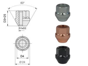 Ecrou conique 12x125 60° L25mm 44g clé 19mm acier zingué