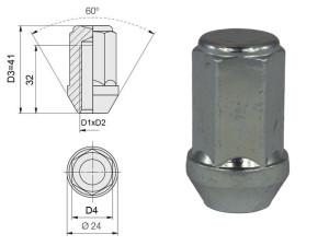 Ecrou conique 12x125 60° L34mm 60g clé 19mm acier zingué fermé