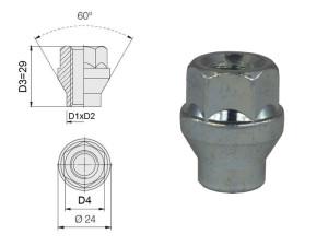 Ecrou conique 12x150 60° à collerette L34mm 55g clé 19mm acier fermé