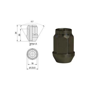 Ecrou conique ouvert 14x150 60° L34mm 19g clé 19mm Alu