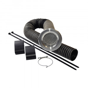 Kit d'alimentation d'air trompette alu argent diametre 89 mm