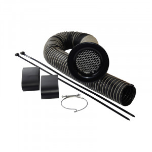 Kit d'alimentation d'air trompette alu noir diametre 89 mm