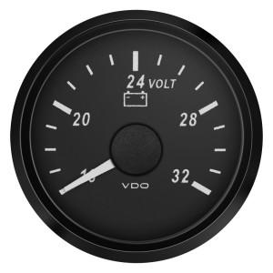 Mano voltmètre - VDO Singleviu -  16 à 32V - fond noir - diamètre 52mm