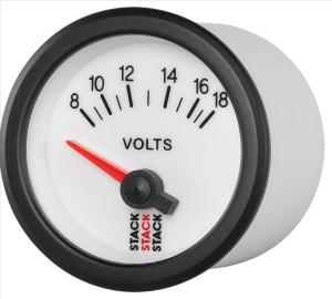 Mano voltmètre Stack 8/18V fond blanc