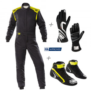 Pack FIA OMP First avec combi First-s, Gants First-s, bottines first