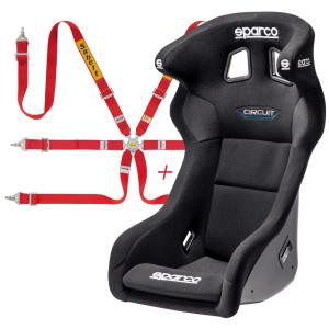 Pack siège baquet FIA Sparco Circuit QRT + Harnais FIA Sabelt 2x2x2