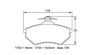 Plaquettes de frein Pagid RS14 Seat Ibiza II 91-99 / Golf III 2.0 Av.