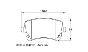 Plaquettes de frein Pagid RSL19 Audi RS4 Année 05- Arrière