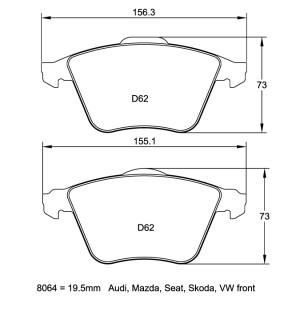 Plaquettes de frein Pagid RSL19 Audi S4 B6 + B7 Année 04-08 Avant
