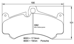 Plaquettes de frein Pagid RSL19 Porsche 997 GT3 Cup Année 05-12 Avant