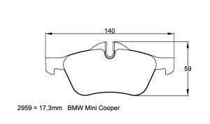 Plaquettes de frein Pagid RSL29 BMW Mini Cooper Année 41427 Avant