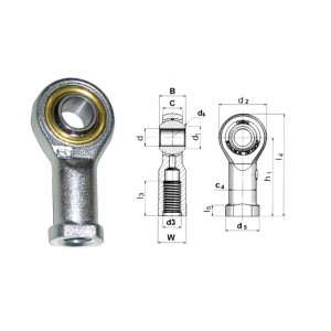 Rotule Unibal série SF standard d.2mm femelle pas M2x0.4 à droite