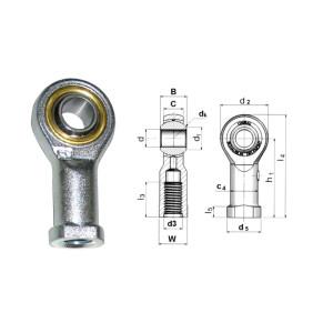 Rotule Unibal série SF standard d.6mm femelle pas M6x100 à gauche