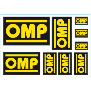 Set de 9 stickers autocollants logos OMP