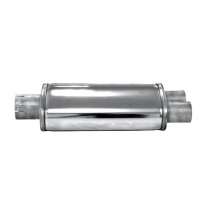 Silencieux ovale Split inox - diamètre 63.5mm - 2 x 51.1mm long. 450mm