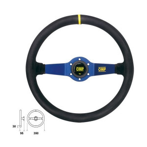 Volant OMP Rally peau 2 branches bleues tulipé 95mm 350mm