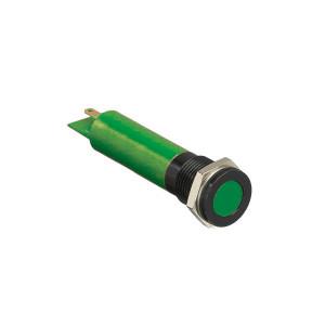 Voyant lumineux Led - non clignotant plat - vert - perçage 8mm