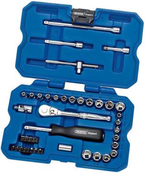 Coffret clé à cliquet réversible 21 douilles 1/4 mm pouces 40 pièces