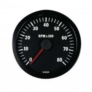 Compte-tours 8000trs/min - diamètre 52mm - VDO - Inter - fond noir