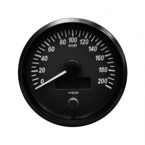 Compteur-Vitesse 200 km/h - VDO Singleviu - fond noir - diamètre 100mm