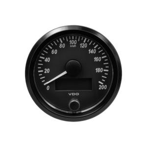 Compteur-Vitesse 200 km/h - VDO Singleviu - fond noir - diamètre 80mm