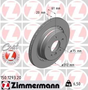 Disque de Frein Zimmermann Gr.N BMW Série 3 E36 M3 Ard (pièce)