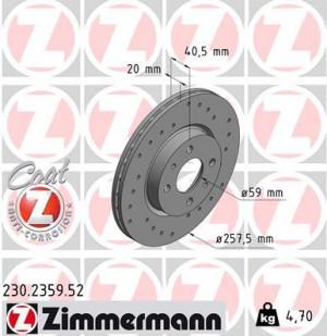 Disque de Frein Zimmermann Percé Alfa Roméo 145 1.6i 16v TS Av (pièce)