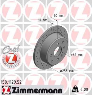 Disque de Frein Zimmermann Percé BMW E30 318i à 325i 258x10 Ar (pièce)