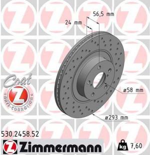 Disque de Frein Zimmermann Percé Subaru WRX 03/01> Av 294x24 (pièce)