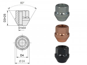 Ecrou conique 12x125 60° L25mm 44g clé 19mm cuivre
