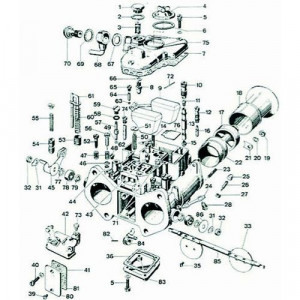 Ecrou de fixation de cornet carburateur Weber 45 DCOE, DCO, IDF (n°19)