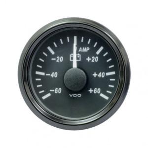 Mano ampèremètre 60 Ampères - VDO Singleviu - fond noir - 52mm