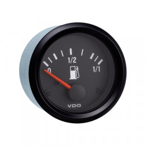 Mano niveau d'essence VDO International Tubulaire fond noir 52mm