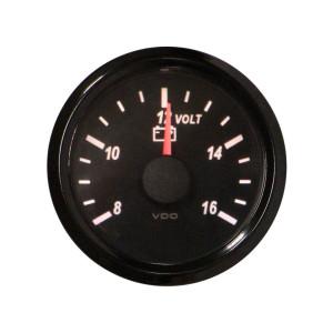 Mano voltmètre - VDO Singleviu -  8 à 16V - fond noir - diamètre 52mm