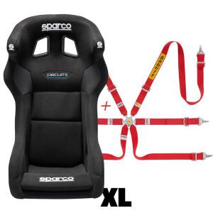 Pack siège baquet FIA Sparco Circuit II QRT + Harnais FIA Sabelt 2x2x2