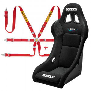 Pack siège baquet FIA Sparco Rev QRT + Harnais FIA Sabelt 2x2x2