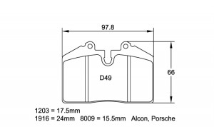 Plaquettes de frein Pagid 1203 RS14 Ferrari 348, 355, 512 Porsche 964