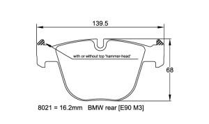 Plaquettes de frein Pagid RS19 BMW M5 E60 Année 04-11  Arrière