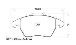 Plaquettes de frein Pagid RS42  AUDI A1, A3, TT ou VW Golf V/VI Avant